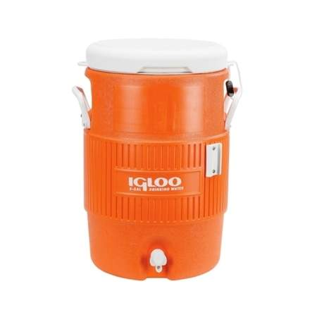 Orange Igloo Thermos 10 gallon with spigot for functionality