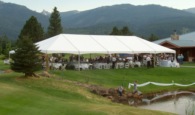 Tent on the grassy area at a Golf Club