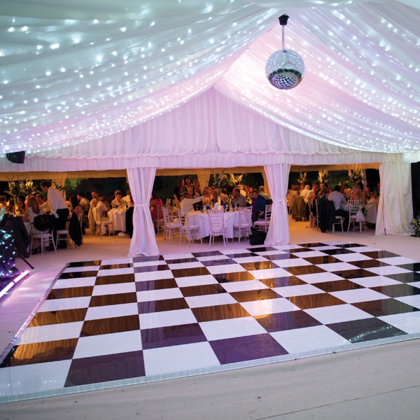 Tent Ceiling twinkle lighting creates a starry starry night effect for your reception. So elegant.