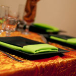 Rental table setting for wedding reception