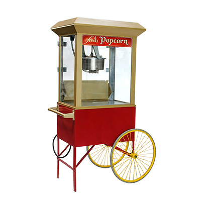Old Fashion Popcorn Machine on Cart with Wheels