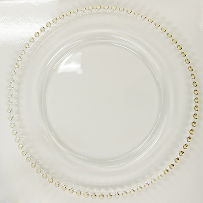 Glass, Gold Beaded Rim Charger