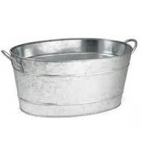 oval and round galvanized tubs so universal for sodas and waters for the self serve service