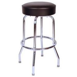 Barstool Chrome Legs and Black leather padded seat