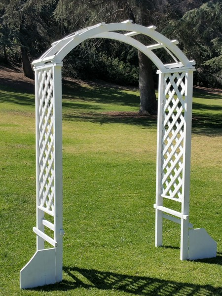 White lattice Arch - comes in natural wood as well
