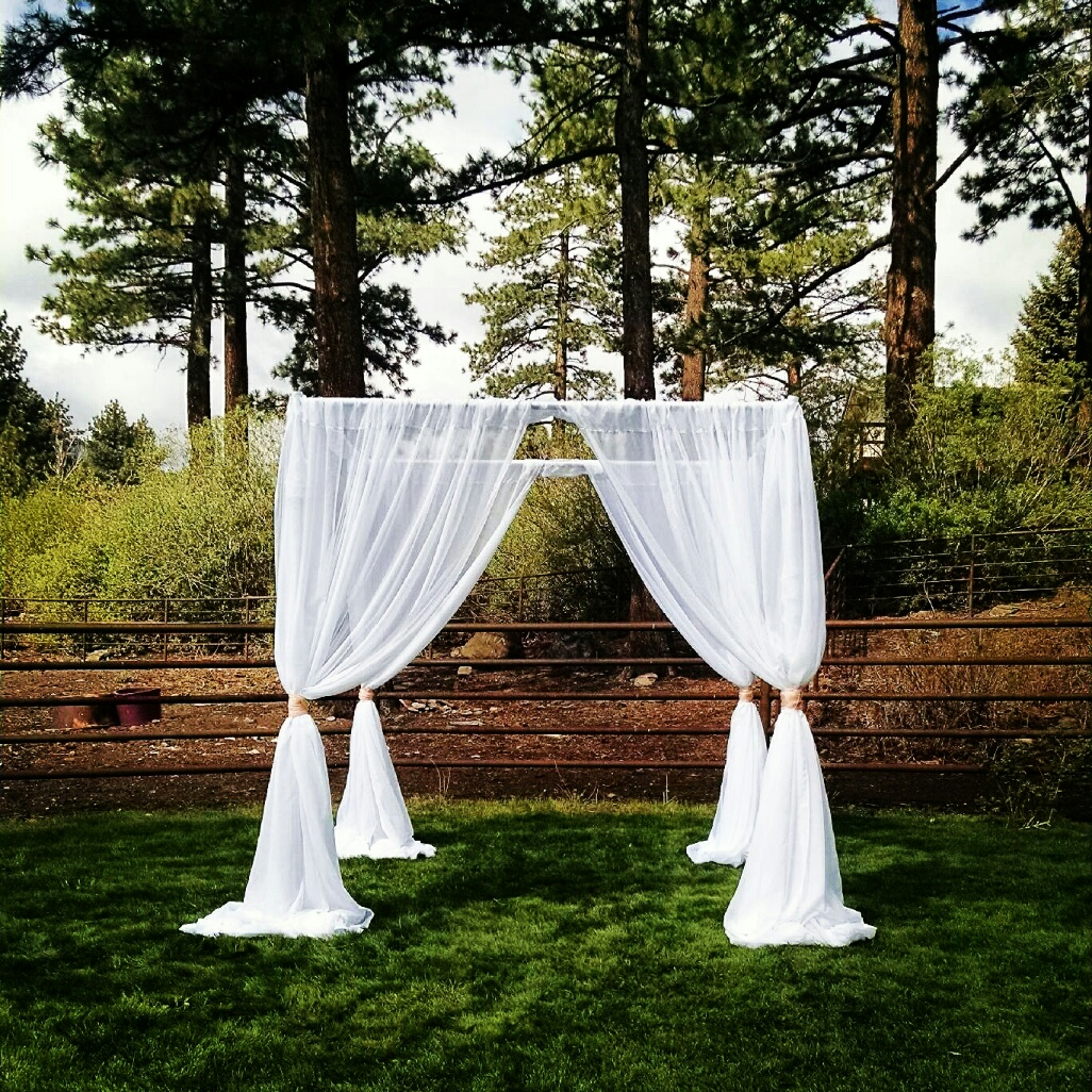 White Fabric Arch Chuppah Sheer