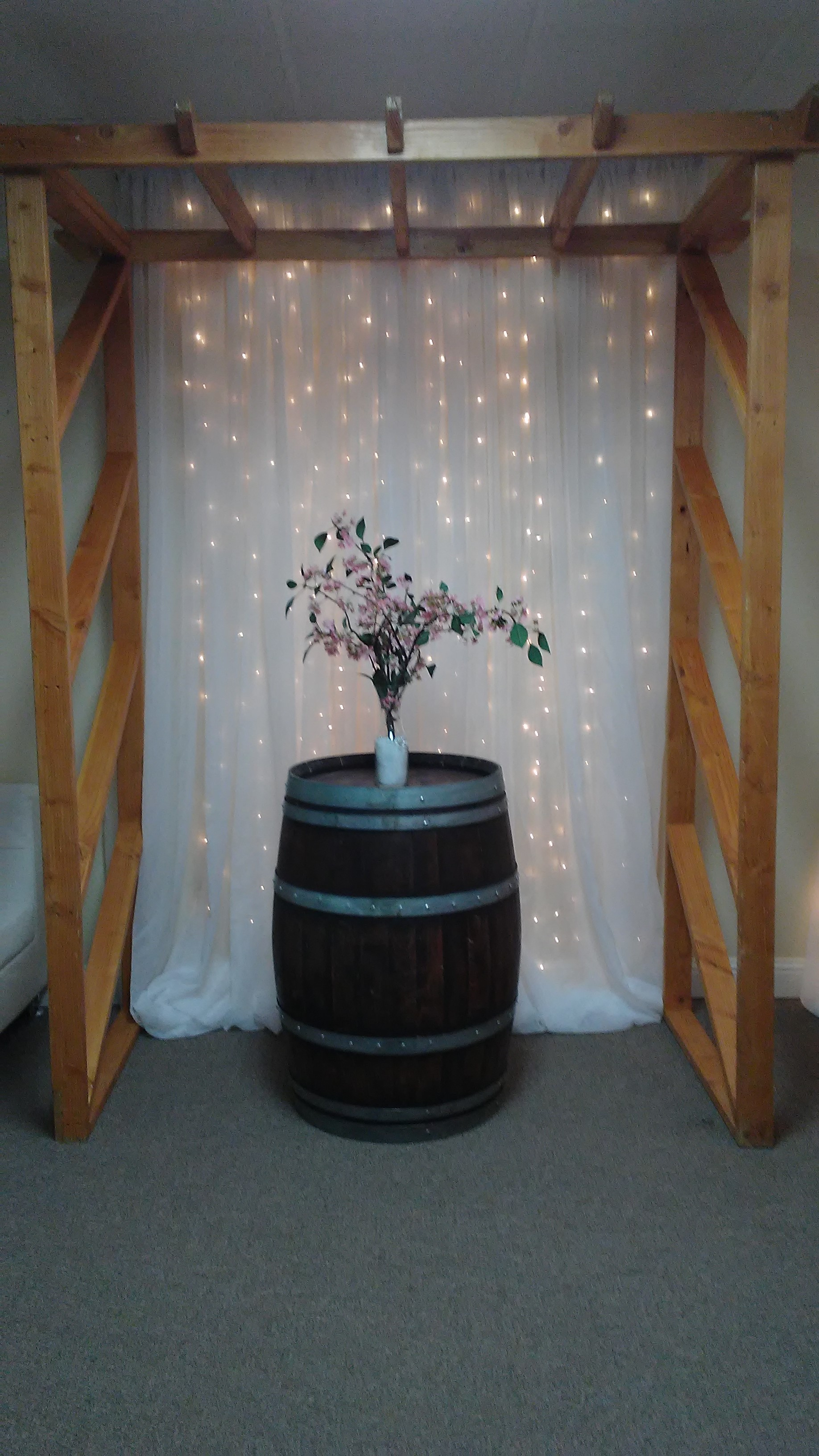 Natural Pergola with Sparkle Wall Backdrop