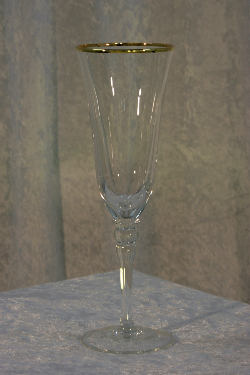 Gold Rimmed Champagne or Mimosa Stemmed Glass