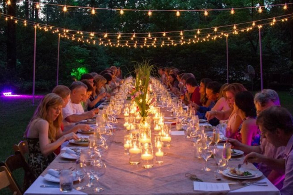 Backyard party - My favorite family style with lights