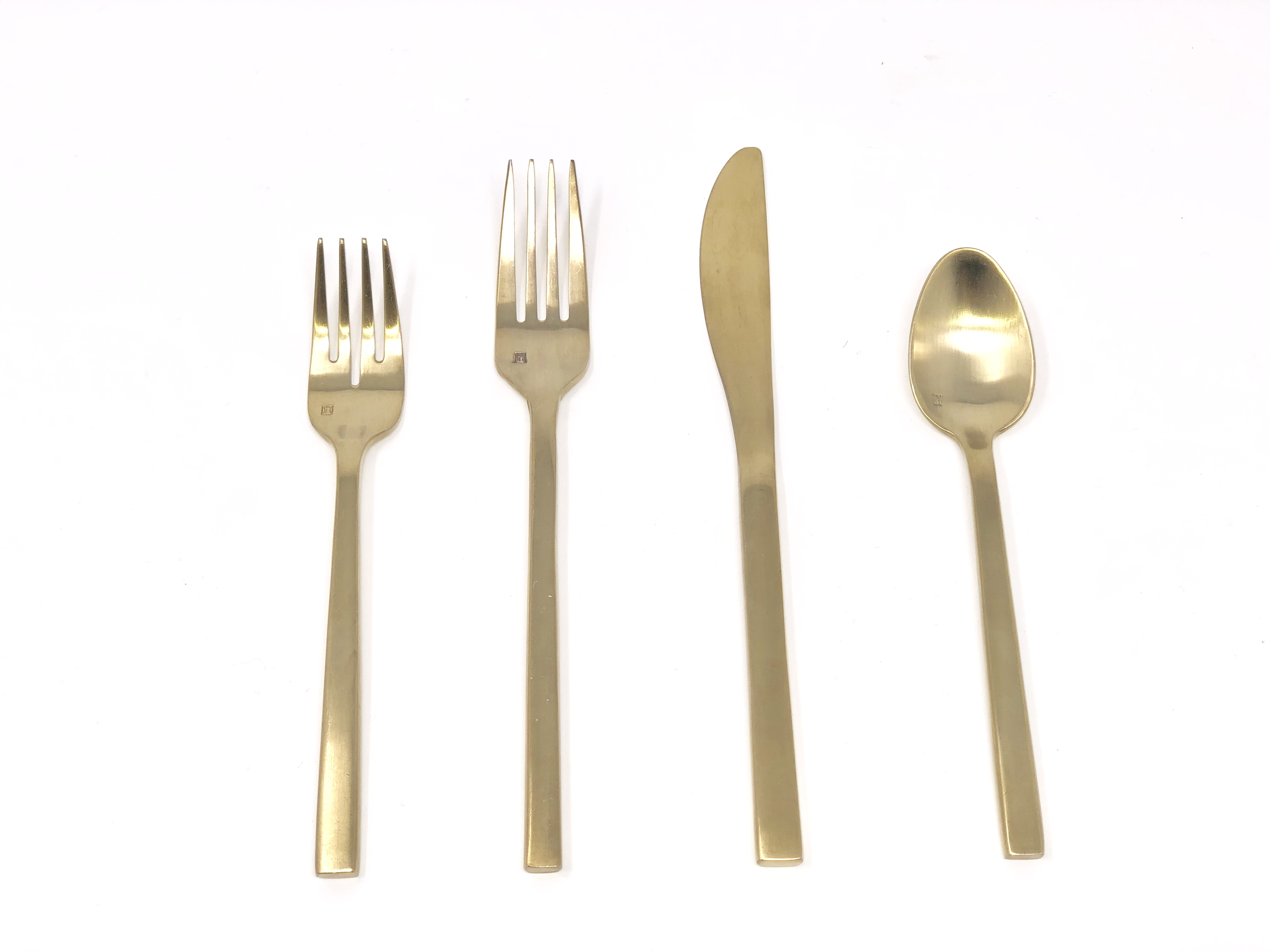 Stunning Gold Galileo Brushed Silverware - Flatware - Tablescape